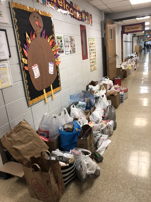 Donations lining the hallway!