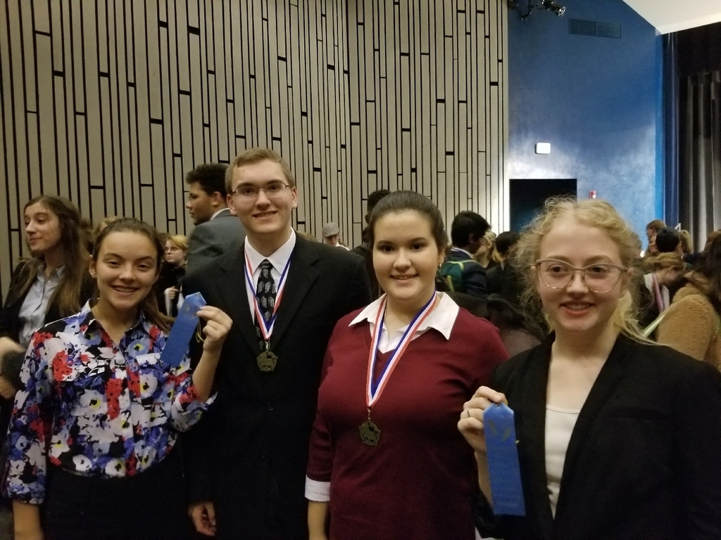 Emma Mast, Anthony Decker, Kaitlyn and Molly Klessig at last weekend's speech competition at Olympia HS.