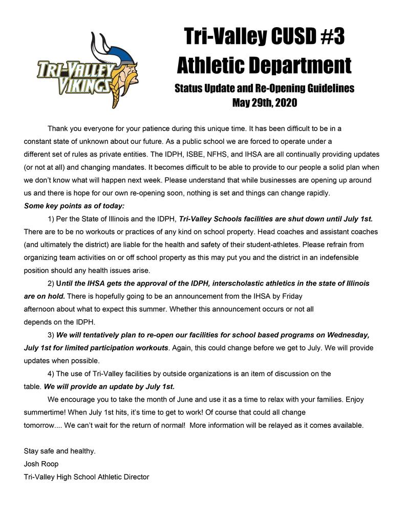TV Athletic Status and Reopening
